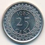 Суринам, 25 центов (1987 г.)