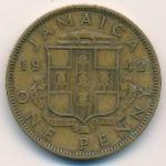 Ямайка, 1 пенни (1942–1945 г.)