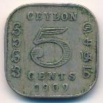 Цейлон, 5 центов (1909 г.)