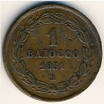 Papal States, 1 baiocco, 1850–1853