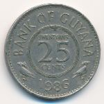Гайана, 25 центов (1986 г.)