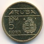 Аруба, 5 флоринов (2014 г.)