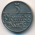 Данциг, 5 пфеннигов (1928 г.)