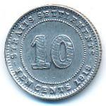 Стрейтс-Сетлментс, 10 центов (1918 г.)