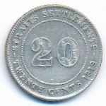 Стрейтс-Сетлментс, 20 центов (1919 г.)