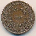 Остров Святой Елены, 1/2 пенни (1821 г.)
