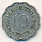 Маврикий, 10 центов (1954–1978 г.)
