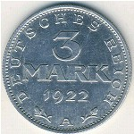 Weimar Republic, 3 mark, 1922–1923