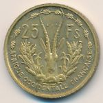 French West Africa, 25 francs, 1956