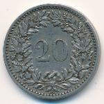 Швейцария, 20 раппенов (1884 г.)