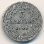 Бавария, 3 крейцера (1849 г.)