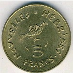 New Hebrides, 5 francs, 1975–1979