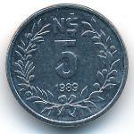 Уругвай, 5 новых песо (1989 г.)