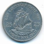 Восточные Карибы, 25 центов (1981–2000 г.)