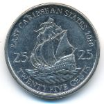 East Caribbean States, 25 cents, 2010