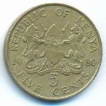 Кения, 5 центов (1980–1989 г.)