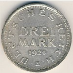 Weimar Republic, 3 mark, 1924–1925
