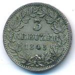 Баден, 3 крейцера (1845 г.)