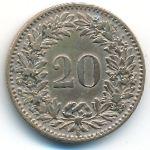 Швейцария, 20 раппенов (1858 г.)