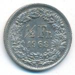 Швейцария, 1/2 франка (1968–1971 г.)