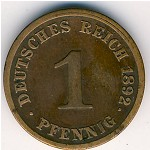 Germany, 1 pfennig, 1890–1916