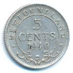 Ньюфаундленд, 5 центов (1940 г.)