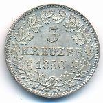 Баден, 3 крейцера (1850 г.)