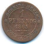 Саксония, 1 пфенниг (1865 г.)