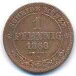 Саксония, 1 пфенниг (1868 г.)