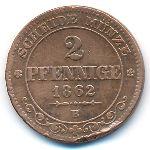Саксония, 2 пфеннига (1862–1869 г.)