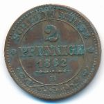 Саксония, 2 пфеннига (1862 г.)