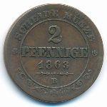 Саксония, 2 пфеннига (1863 г.)