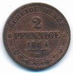Саксония, 2 пфеннига (1864 г.)