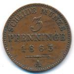 Пруссия, 3 пфеннинга (1863 г.)