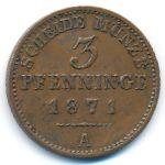 Пруссия, 3 пфеннинга (1871 г.)