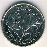 Bermuda Islands, 10 cents, 1999–2009