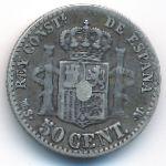 Испания, 50 сентимо (1880 г.)