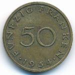 Саар, 50 франков (1954 г.)