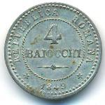 Римская республика, 4 байоччи (1849 г.)