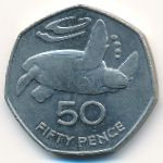 Saint Helena Island and Ascension, 50 pence, 1991