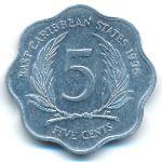Восточные Карибы, 5 центов (1995 г.)