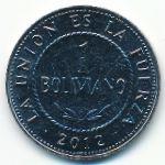 Боливия, 1 боливиано (2012 г.)