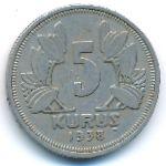 Турция, 5 куруш (1938 г.)