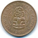 Новая Зеландия, 1/2 пенни (1962 г.)