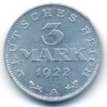 Веймарская республика, 3 марки (1922 г.)