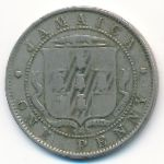 Ямайка, 1 пенни (1907–1910 г.)