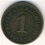 Germany, 1 pfennig, 1873–1889
