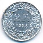 Швейцария, 2 франка (1958 г.)