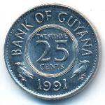 Гайана, 25 центов (1991 г.)