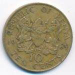 Кения, 10 центов (1989 г.)